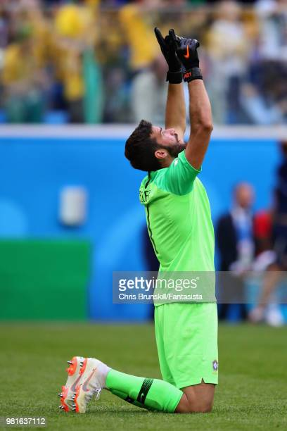 Alisson of Brazil celebrates during the 2018 FIFA World Cup Russia group E match between Brazil and Costa Rica at Saint Petersburg Stadium on June 22...