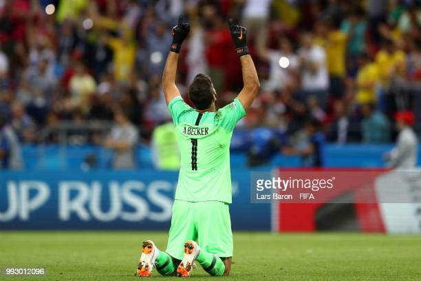 Alisson of Brazil celebrates his team's first goal during the 2018 FIFA World Cup Russia Quarter Final match between Brazil and Belgium at Kazan...
