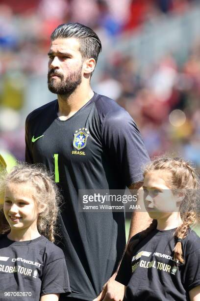 Alisson of Brazil during the International friendly match between Croatia and Brazil at Anfield on June 3 2018 in Liverpool England