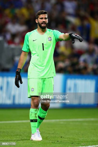 Alisson of Brazil gestures during the 2018 FIFA World Cup Russia Quarter Final match between Brazil and Belgium at Kazan Arena on July 6 2018 in...