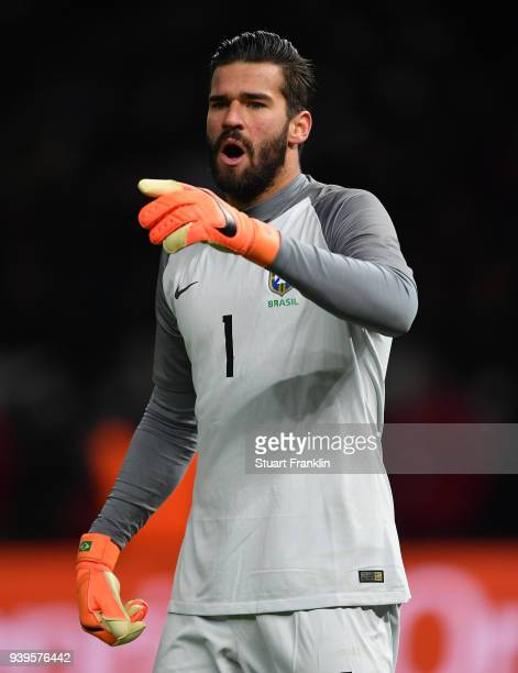 Alisson of Brazil gestures during the international friendly match between Germany and Brazil at Olympiastadion on March 27 2018 in Berlin Germany