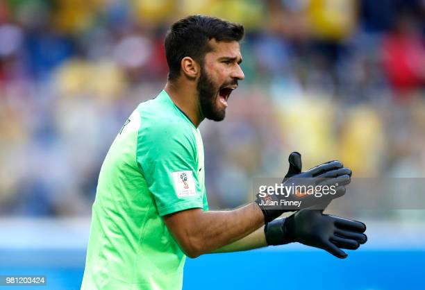 Alisson of Brazil gives his team instructions during the 2018 FIFA World Cup Russia group E match between Brazil and Costa Rica at Saint Petersburg...