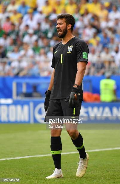 Alisson of Brazil gives his team instructions during the 2018 FIFA World Cup Russia Round of 16 match between Brazil and Mexico at Samara Arena on...