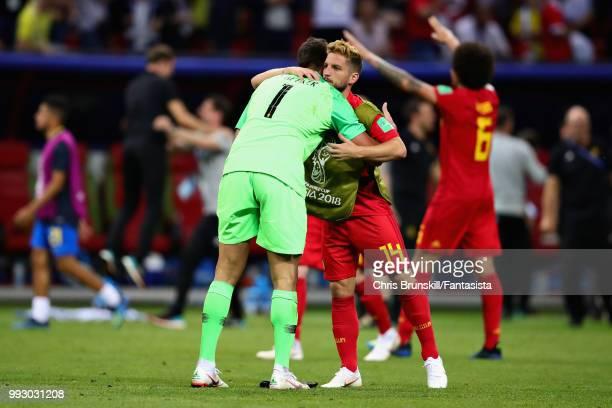 Alisson of Brazil hugs Dries Mertens of Belgium after the 2018 FIFA World Cup Russia Quarter Final match between Brazil and Belgium at Kazan Arena on...