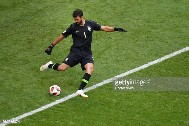 Alisson of Brazil in action during the 2018 FIFA World Cup Russia Round of 16 match between Brazil and Mexico at Samara Arena on July 2 2018 in...
