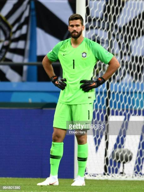 Alisson of Brazil looks dejected after Fernandinho of Brazil scored an own goal to make it 01 during the 2018 FIFA World Cup Russia Quarter Final...