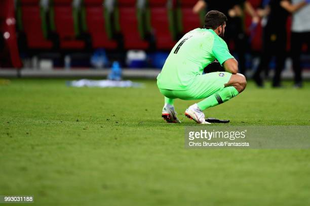 Alisson of Brazil looks dejected after the 2018 FIFA World Cup Russia Quarter Final match between Brazil and Belgium at Kazan Arena on July 6 2018 in...