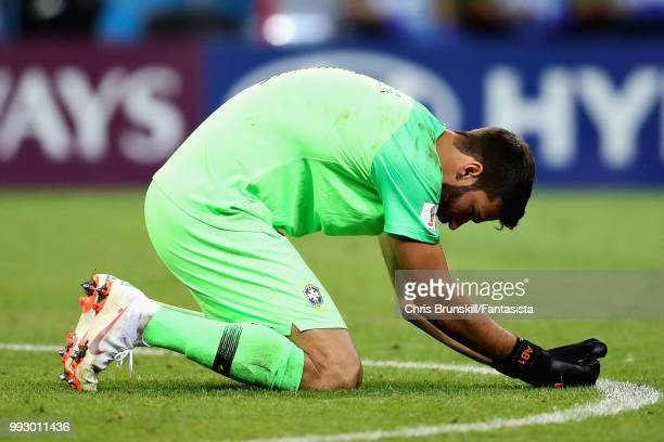 Alisson of Brazil looks dejected during the 2018 FIFA World Cup Russia Quarter Final match between Brazil and Belgium at Kazan Arena on July 6 2018...