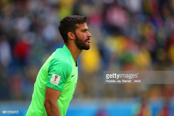 Alisson of Brazil looks on during the 2018 FIFA World Cup Russia group E match between Brazil and Costa Rica at Saint Petersburg Stadium on June 22...