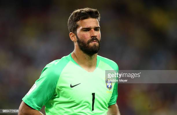 Alisson of Brazil looks on during the 2018 FIFA World Cup Russia group E match between Serbia and Brazil at Spartak Stadium on June 27 2018 in Moscow...