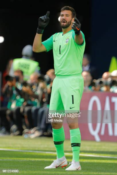 Alisson of Brazil national team gestures during the 2018 FIFA World Cup Russia group E match between Brazil and Costa Rica at Saint Petersburg...