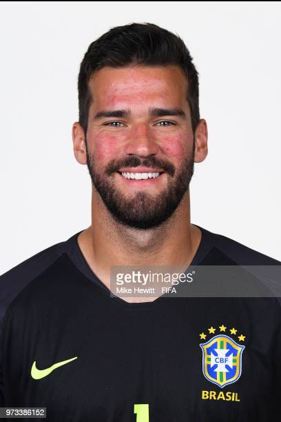 Alisson of Brazil poses for a portrait during the official FIFA World Cup 2018 portrait session at the Brazil Team Camp on June 12 2018 in Sochi...