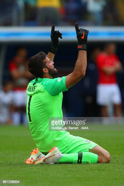 Alisson of Brazil reacts after Brazil's first goal during the 2018 FIFA World Cup Russia group E match between Brazil and Costa Rica at Saint...