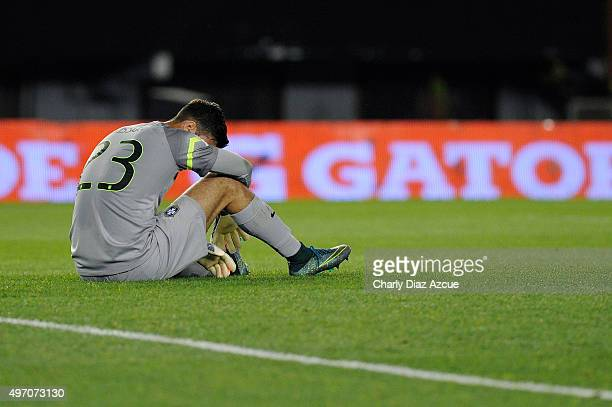 Alisson of Brazil reacts after Ezequiel Lavezzi of Argentina scored the opening goal during a match between Argentina and Brazil as part of FIFA 2018...