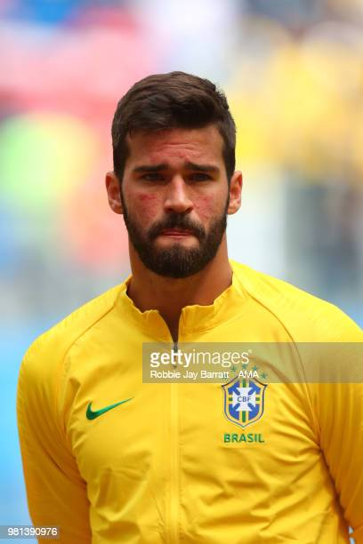 Alisson of Brazil stands for the anthems prior to the 2018 FIFA World Cup Russia group E match between Brazil and Costa Rica at Saint Petersburg...