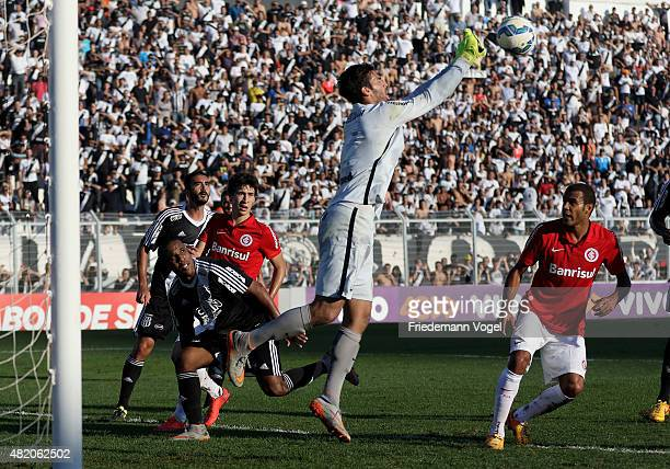 Alisson of Internacional saves the ball during the match between Ponte Preta and Internacional for the Brazilian Series A 2015 at Moises Lucarelli...