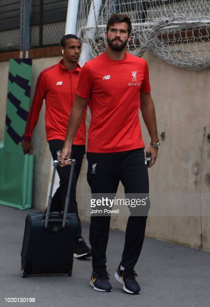 Alisson of Liverpool arriving before the Premier League match between Crystal Palace and Liverpool FC at Selhurst Park on August 20 2018 in London...