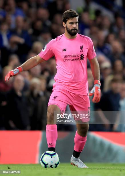 Alisson of Liverpool during the Premier League match between Chelsea FC and Liverpool FC at Stamford Bridge on September 29 2018 in London United...