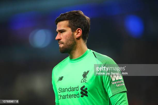 Alisson of Liverpool during the Premier League match between Manchester City and Liverpool FC at Etihad Stadium on January 3 2019 in Manchester...