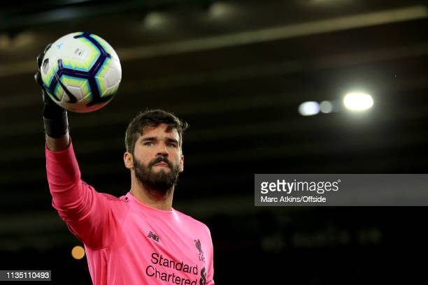 Alisson of Liverpool during the Premier League match between Southampton FC and Liverpool FC at St Mary's Stadium on April 5 2019 in Southampton...