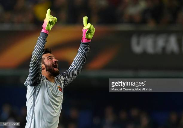 Alisson of Roma celebrates during the UEFA Europa League Round of 32 first leg match between Villarreal CF and AS Roma at Estadio de la Ceramica on...