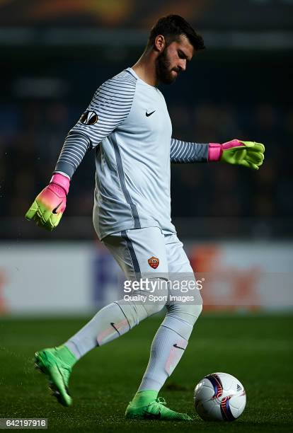 Alisson of Roma in action during the UEFA Europa League Round of 32 first leg match between Villarreal CF and AS Roma at Estadio de la Ceramica on...
