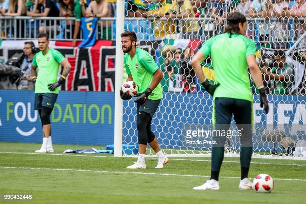 Alisson Ramses Becker during warmup before the game between Brazil and Mexico valid for the octaves of finals of the World Cup of 2018 held in Arena...