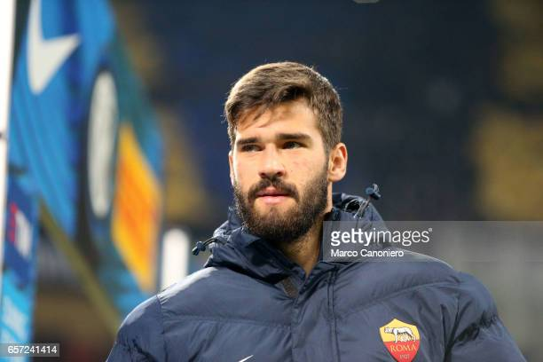 Alisson Ramses Becker of AS Roma looks on before the Serie A match between FC Internazionale and AS Roma at Stadio Giuseppe Meazza AS Roma wins 31...