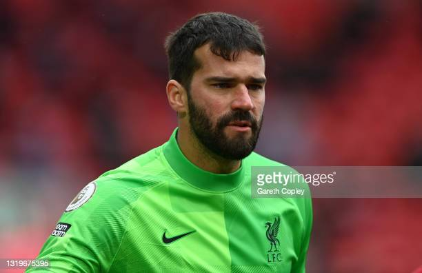 Alisson Ramses Becker of Liverpool during the Premier League match between Liverpool and Crystal Palace at Anfield on May 23, 2021 in Liverpool,...