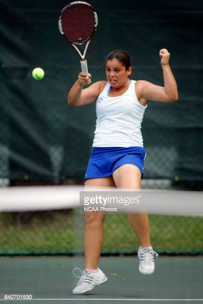 Alisson Siaci of Lynn Univeristy hits a forehand during the Division II Women's Tennis Championship held at Sanlando Park in Altamonte Springs FL...