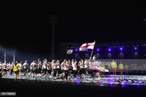 Alistair Brownlee, flag bearer of England arrives with the England team during the Opening Ceremony for the Gold Coast 2018 Commonwealth Games at...