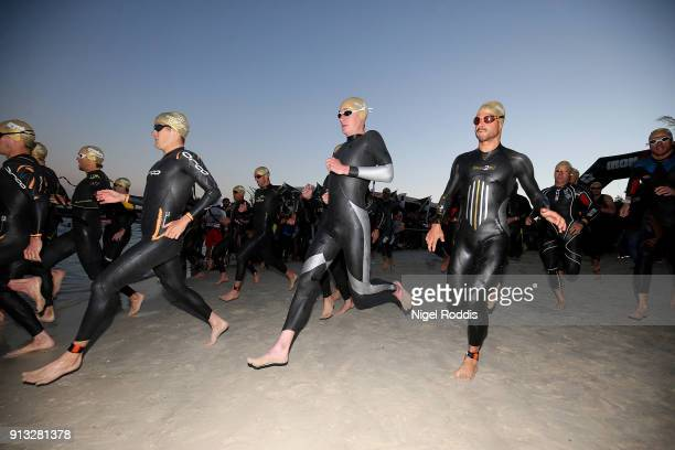 Alistair Brownlee of Great Britain competes in the swim section of Ironman 703 Dubai on February 2 2018 in Dubai United Arab Emirates