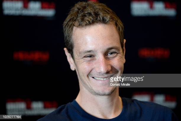 Alistair Brownlee of Great Britain takes questions at the Professional Athlete Press Conference leading up to the Isuzu IRONMAN 703 World...