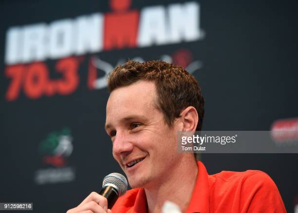 Alistair Brownlee speaks to the media during the Ironman 703 Dubai 2018 press conference on January 31 2018 in Dubai United Arab Emirates