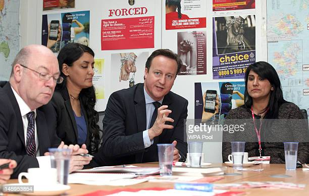 Alistair Burt Aneeta Prem of the Freedom Charity David Cameron and Jasvinder Sanghera of Karwia Nirvana during a meeting with the Forced Marriage...