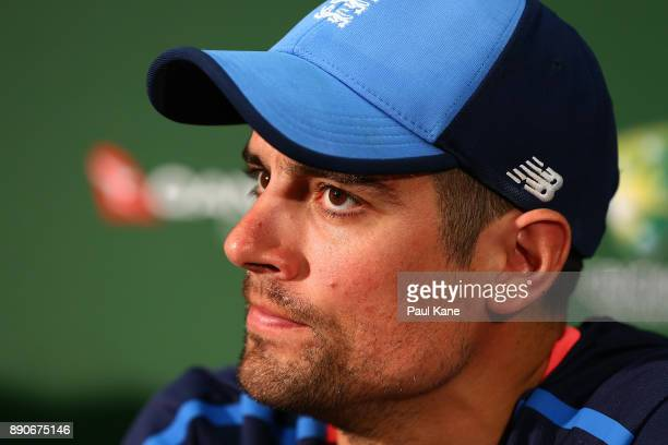 Alistair Cook of England addresses the media before an England nets session ahead of the Third Test in the 2017/18 Ashes series at WACA on December...