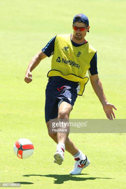 Alistair Cook of England plays football during an England nets session ahead of the Third Test in the 2017/18 Ashes series at WACA on December 12...
