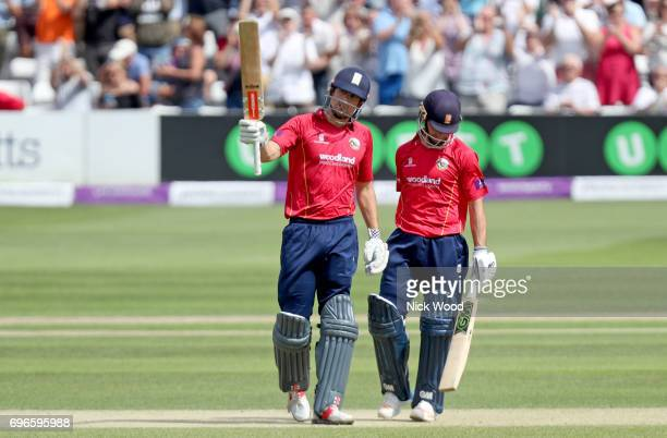 Alistair Cook of Essex celebrates scoring a century of runs during the Royal London OneDay Cup Semi Final between Essex and Notts at Cloudfm County...