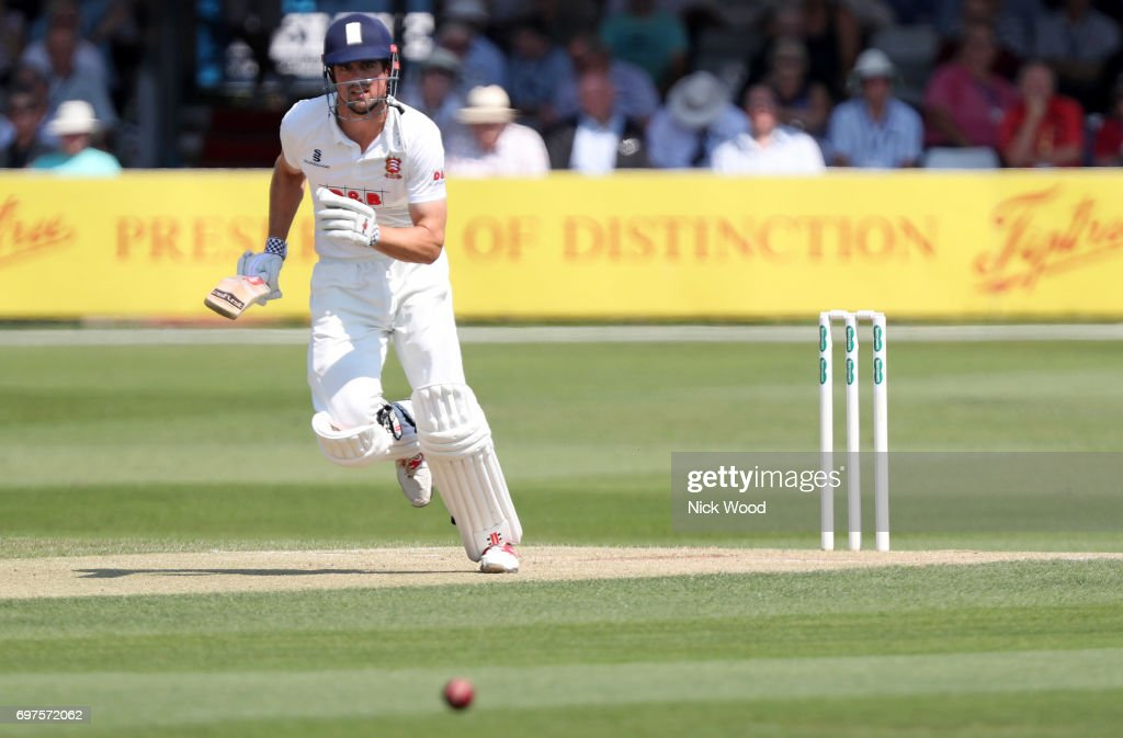 Alistair Cook of Essex drives the ball for the opeing runs of the day during the Essex v Warwickshire - Specsavers County Championship: Division One cricket match at the Cloudfm County Ground on JUNE 19, 2017 in Chelmsford, England.