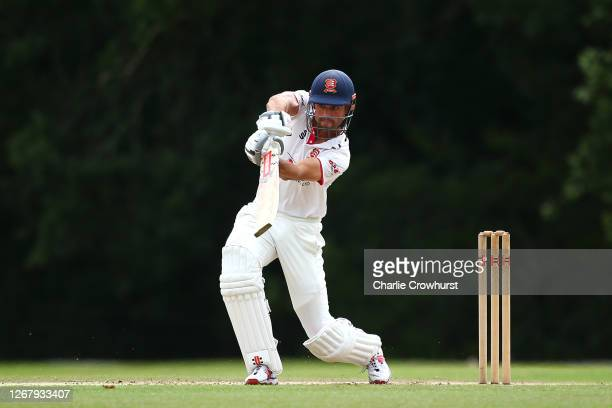 Alistair Cook of Essex hits out during day two of the Bob Willis Trophy match between Hampshire and Essex at Arundel Cricket Club on August 23, 2020...