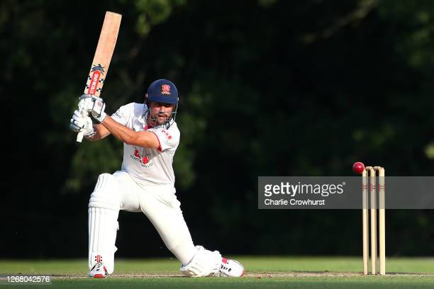 Alistair Cook of Essex hits out during day two of the Bob Willis Trophy match between Hampshire and Essex at Arundel Cricket Club on August 23 2020...