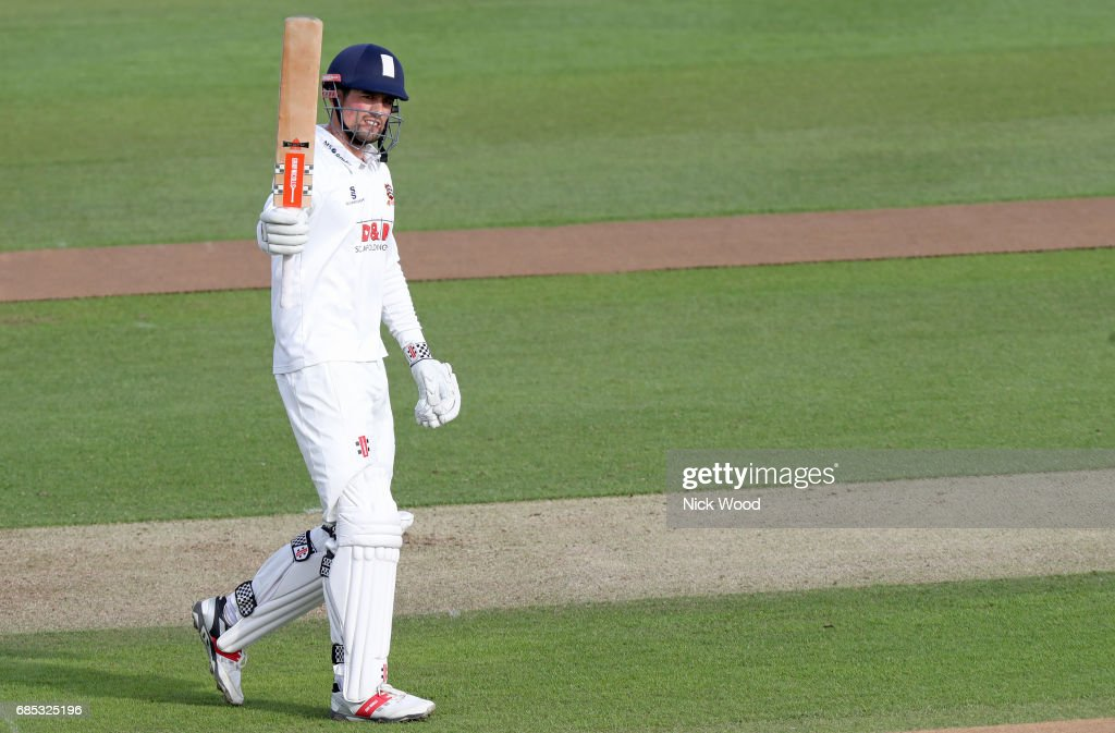 Alistair Cook of Essx celebrates scoring a century during the Essex v Hampshire - Specsavers County Championship: Division One cricket match at the Cloudfm County Ground on May 19, 2017 in Chelmsford, England.