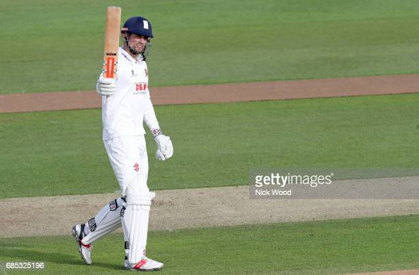 Alistair Cook of Essx celebrates scoring a century during the Essex v Hampshire Specsavers County Championship Division One cricket match at the...