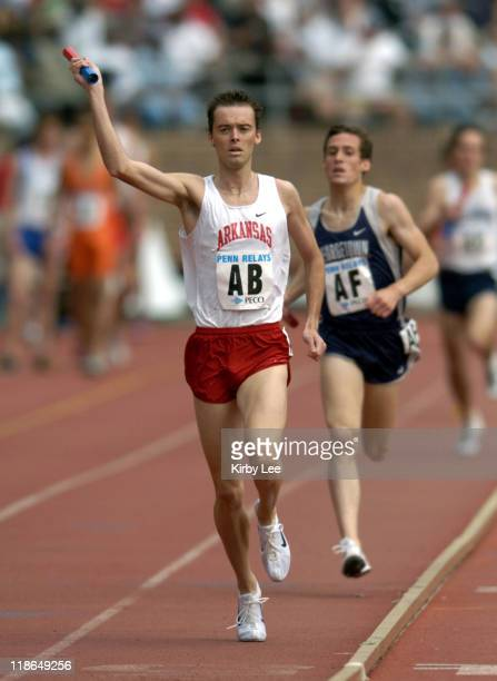 Alistair Cragg anchors Arkansas men's distance medley to victory in 93374 in the 110th Penn Relays at the University of Pennsylvania's Franklin Field...