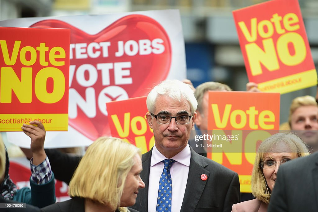 Alistair Darling leader of the Better Together meets with members of the public during a walk about on September 15, 2014 in Kilmarnock, Scotland. With just three days of campaigning left, First Minister Alex Salmond is meeting business people in Edinburgh and Prime Minister David Cameron is due to visit Scotland today ahead of Thursday's independence vote.
