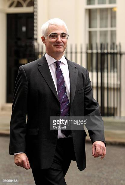 Alistair Darling the Chancellor of the Exchequer leaves Number 11 Downing Street on March 23 2010 in London England Mr Darling is due to present his...