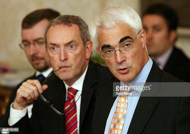Alistair Darling the United Kingdom's Chancellor of the Exchequer right speaks next to John Hutton MP secretary of state for business at the launch...