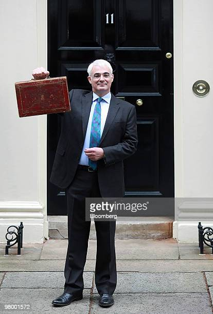 Alistair Darling UK chancellor of the exchequer holds the Gladstone dispatch box containing the 2010 budget outside 11 Downing Street in London UK on...
