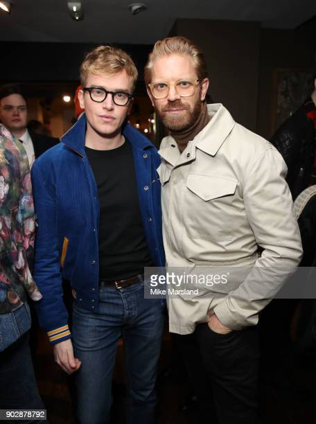 Alistair Guy and Fletcher Cowan attends the Belstaff Party at Liberty on January 8 2018 in London England