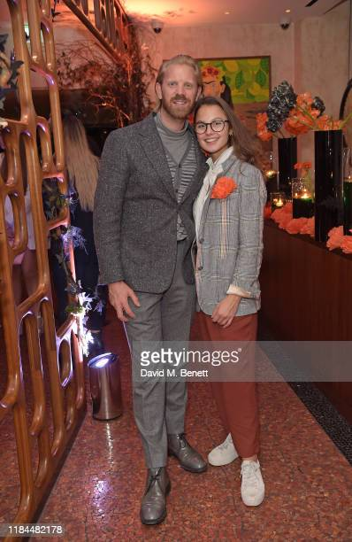 Alistair Guy and guest attend Ella Canta's Day of the Dead celebration on October 30 2019 in London England
